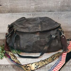 Large Distressed textured leather guitar strap bag